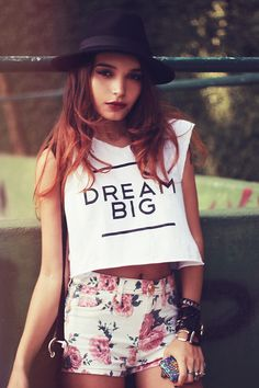 Love the Screen tee with floral shorts