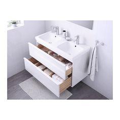 GODMORGON / ODENSVIK Kast voor wastafel met 2 lades - hoogglans wit - IKEA