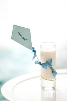 kite name tag, adorable escort card or shotglass favor idea