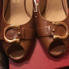 Salvatore Ferragamo Brigitte 7cm tan calf 9b Salvatore Ferragamo Brigitte 7cm tan calf size 9b. Never worn, ever. Really classic and beautiful. I couldn't wear because they are too small for me. 😞 Salvatore Ferragamo Shoes Heels