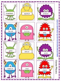 ($)A Not So Wimpy File Folder Game: Monster Match (Nouns and Verbs)