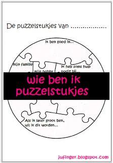 wie ben ik - puzzelstukjes (leuk om aan het begin en aan het eind van het schooljaar in te vullen)