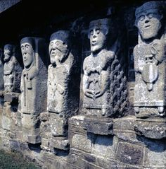 A close up of Sheela-na-gig stone carvings in the ruins of an ancient church are found near the shore of White Island, County Fermanagh.