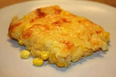 Corn casserole: 15 oz can whole kernel corn, drained 15 oz can cream-style corn 1 8 oz pkg Jiffy corn muffin mix 1 C sour cream 1/2 C butter, melted 1 C cheese Preheat oven to 350. Mix all ingredients (minus cheese) and pour into a greased baking dish. Baked for 45 minutes, until set and golden brown. Sprinkle with cheddar and put it back in the oven until cheese melts.