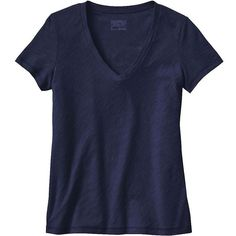 Patagonia Women's Necessity V-Neck Jersey (€44) ❤ liked on Polyvore featuring tops, t-shirts, shirts, navy blue, navy blue t shirt, patagonia shirts, v neck shirt, navy t shirt and jersey t shirt
