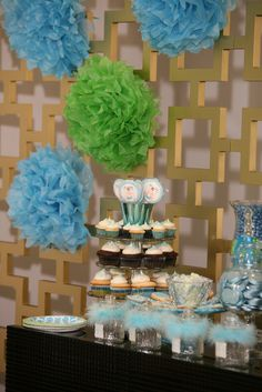 """Photo 1 of 18: Green and Blue Baby Shower, Afternoon Tea / Baby Shower/Sip & See """"Oh Boy""""   Catch My Party"""