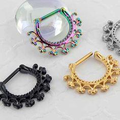 We have over 450 styles of septum rings & jewelry styles in stock! We carry solid gold, steel, titanium, & glass. Septum Clicker, Septum Ring, Septum Jewelry, Jewelry Rings, Body Piercing, Piercings, Nasal Septum, Solid Gold, Crochet Earrings