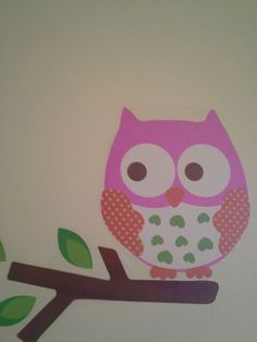 Cute owl stickers for a girls bedroom