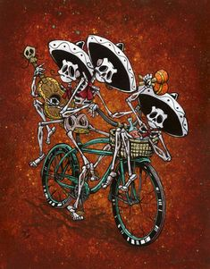 The skeleton band rides their bike around town, filling the streets with music. They don't need no stinkin' venue. Paper...