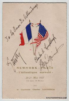 Charles LINDBERGH - Menu dédicacé par Charles LINDBERGH à Paris (25 mai 1927)  #lindbergh #charleslindbergh #newyork #nyc #paris #autographe #dedicace #menu #1927 #herrick #lyautey #aviation #aviateur #vol #france #usa #transatlantique