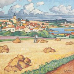 blastedheath:  Gaston Balande (French, 1880-1971), Worker in a field with a town in the background. Oil on canvas, 59.7 x 59.7 cm.