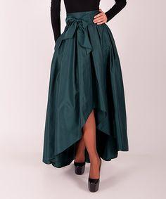 Love this Dark Green Tie-Waist Hi-Low Skirt on #zulily! #zulilyfinds