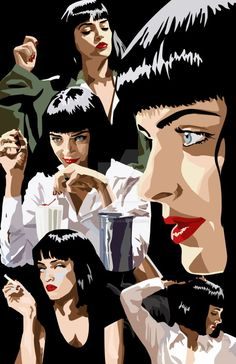 johnny-dynamo: Mia Wallace by Mcrparade Pulp Fiction Art, Pulp Art, Mia Wallace, Uma Thurman, The Best Films, Hippie Art, Vintage Horror, Arte Pop, Living At Home