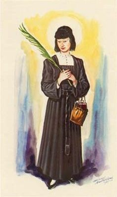 """Bl. Magdalena Roman Catholic Martyr of Nagasaki, Japan. Magdalene turned herself into the authorities and declared herself a follower of Jesus Christ. At age 23, she died on October 16, 1634 after thirteen days of torture, suffocated to death and suspended upside down in a pit of offal on a gibbet (??? tsurushi, """"reverse hanging""""). Feastday Sept. 28 Image of Bl. Magdalena of Nagasaki"""