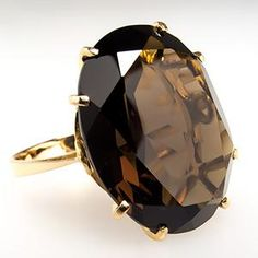 15 Carat Smoky Quartz Cocktail Ring 14K Gold