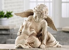 Patio Décor  POLYSTONE ANGEL W CAT FIGURINE ** This is an Amazon Associate's Pin. Clicking on the image will lead you to the Amazon website.