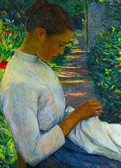 Lilla Cabot Perry (American, 1848 - Eugenie in the garden American Impressionism, Impressionist Art, Sewing Art, Art Graphique, American Artists, Figurative Art, Love Art, Female Art, Painting & Drawing