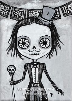 Sofia Top Hat Day of the Dead art print 5x7 by ArtByLupeFlores, $6.99