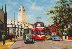 Pete Lapish - Woodhouse Lane & Leeds University - Leeds - West Yorkshire - England - Lance Corporal Tram - 1954 Shared by Motorcycle Fairings - Motocc Leeds England, Yorkshire England, West Yorkshire, Leeds United Wallpaper, Leeds Art Gallery, Leeds University, Leeds United Fc, Leeds City, Vintage Travel Posters