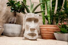 Купить Кашпо для цветов из бетона Моаи, креатив для растений, суккулентов - серый, остров пасхи, идол
