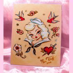 Retro pinup inspired sailor girl painting. Original Art by Claudette Barjoud, a.k.a Miss Fluff. www.missfluff.com #pinupart #retroart #retropinup #pinuptattoo #missfluff #rockabilly #rockabillystyle