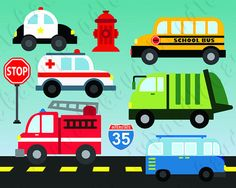 Ambulance, Firetruck, Garbage Truck, School Bus, Police Car, and 70s Van