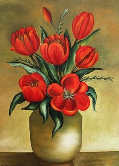 Bonita pintura Easy Flower Painting, Flower Art Drawing, Flower Painting Canvas, Fabric Painting, Painting & Drawing, Watercolor Paintings, Canvas Art, Tulip Painting, Art Floral