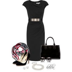 Scarf / black & pink, created by kikilea on Polyvore