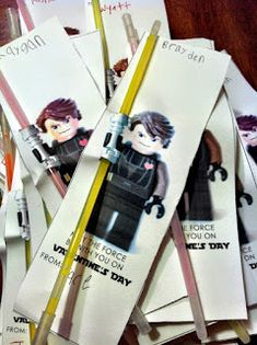 No candy!  May the force be with you valentine for boys, using a glow stick. LOVE this idea! or party favors!