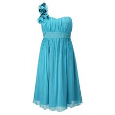 turquoise bridesmaid dress idea with a silver skirt that has ruffles cute!!