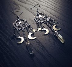 Crescent Moon Earrings With Aura Quartz #handmade #boho #gypsy #gothic #wicca #crystals