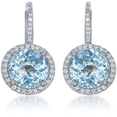 Diana M. Jewels 14k White Gold Blue Topaz & Diamond Drop Earrings ($1,638) ❤ liked on Polyvore featuring jewelry, earrings, 14 karat gold earrings, diamond jewelry, 14k earrings, round earrings and white gold diamond earrings