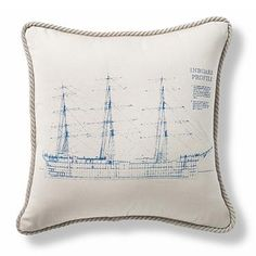 Vintage Inboard Ship Outdoor Pillow