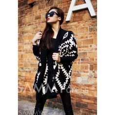 $13.36 Modern Style Abstract Pattern Batwing Sleeve Knit Cardigan For Women