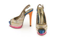 Sandalo stampa pitone con tacco alto 1to3