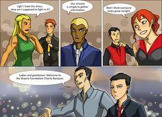 Artemis & Wally: Aqualad: Conner & M'gann: Bruce Wayne & Dick