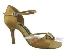 Natural Spin Signature Latin Shoes(Open Toe, Adjustable):  H1110-07a_TanES