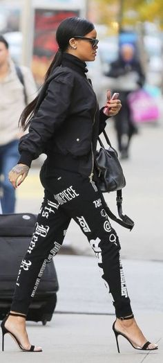 Rihanna Black And White Printed Pants
