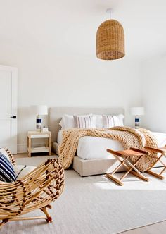 rattan chair + knitted throw