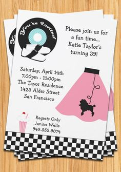 Party invitation retro 50 s poodle skirt party invitation by