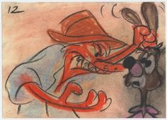 """WALT DISNEY STUDIO  Song of the South (1946)   Original production animation story drawing pastel and lithographic crayon on 5"""" x 7"""" story sheet, image size: 5"""" x 7"""". This original animation story drawing of Brer Rabbit and Brer Fox was created by Disney story artist Bill Peet in development of an animated sequence in Walt Disney's feature film of the Uncle Remus stories of Joel Chandler Harris. Bill Peet was the lead storyman on the movie's animated sequences."""