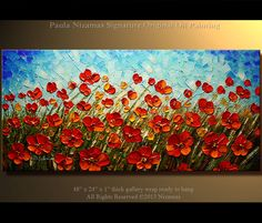 Prairie Poppies Original Contemporary Textured Oil by Nizamas. , via Etsy.