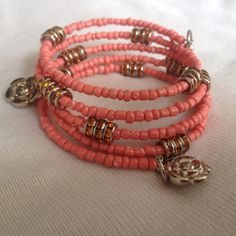 Coral beads, memory wire bracelet