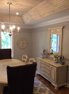 Dining-- Maison Blanc chalk paint, glaze, and distress ceiling beadboard in gray room