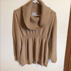Gold maternity sweater with cowl neck Fits nice. In good condition. Liz Lange Sweaters Cowl & Turtlenecks