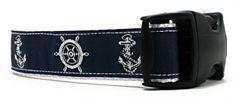 Navy   Anchors & Boat Wheels Dog Collars