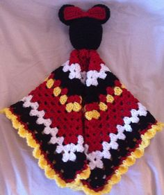 Minnie Mouse Lovey security blanket by on Etsy Crochet Security Blanket, Crochet Lovey, Manta Crochet, Crochet Bebe, Love Crochet, Baby Blanket Crochet, Crochet For Kids, Crochet Blankets, Crochet Crafts