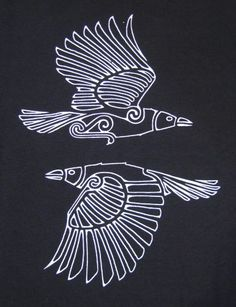 "Hugin und Munin sind in der nordischen Mythologie die beiden Raben Odins, der au… Hugin and Munin are in Norse mythology, the two ravens Odin, who also bears the nickname Hrafnáss ""Rabengott""."