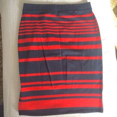 NWOT Navy Blue and Red Skirt NEW WITHOUT TAGS. Never worn. // Navy blue and red striped skirt. Made of cotton and spandex. // Old Navy brand. // Sz M // non smoking home Old Navy Skirts Midi
