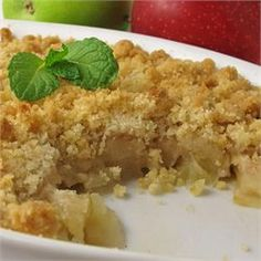 Apple Crisp with no oats - Perfect and easy. Both times I've made it, I used more apples and did 1 1/2 times the topping recipe - then made it in a 9x13 instead of an 8x8.